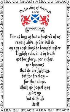 Declaration of Arbroath... Mmmm, still under English rule..