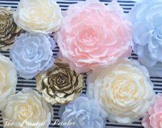Papel flor Set real para el cuarto del bebé elegantes flores