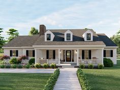 050H-0316: Southern House Plan; 3 Bedrooms, 2.5 Baths Porch House Plans, House Plans One Story, Cottage House Plans, Cottage Homes, One Story Homes, House Roof, Farm House, Southern Style Homes, Southern House Plans