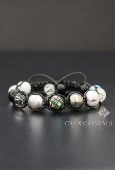B&W Memories Beaded Bracelet Gemstone Shamballa by CruxCrystals