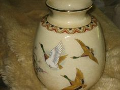 OLD JAPANESE HAND PAINTED VASE - GREAT DETAIL OF DUCKS AND FLOWERS