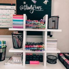 Omgg comment all heart emojis if you love this stationery organization!🌈 Anyway, you can get popular stationery such as MUJI style gel pens, Zebra Mildliner highlighters, 'Mildliner' style highlighter Study Room Decor, Cute Room Decor, Bedroom Decor, Stationary Organization, College Desk Organization, Organization Ideas, Dream Rooms, New Room, Dorm Room