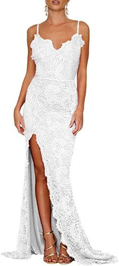 8f46cb57aa24 Lalagen Women's Floral Lace Split Long Formal Wedding Dress Evening Gown  White S at Amazon Women's Clothing store: