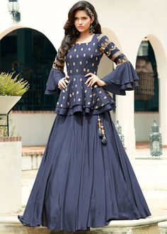 Simple Designer navy blue color lehenga choli for bridal look.For order WhatsApp on draping styles dress for bride indian dresses indian teens wedding outfits sisters blouse designs indian with dress blouse designs dresses indian designs indian bridal Party Wear Indian Dresses, Designer Party Wear Dresses, Indian Gowns Dresses, Dress Indian Style, Kurti Designs Party Wear, Indian Designer Outfits, Pakistani Dresses, Lehnga Dress, Long Gown Dress