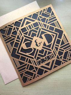 Laser Cut Wedding Invitations, Monogram Art Deco Gatsby Invitations, Roaring 20s Custom Personalized Invitations, Die Cut