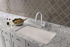White liner backsplash beveled subway tile edge colonial for Kitchen cabinets 08080