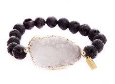 Bracelet Jewelry Stretch Fashion Crystal - Druzy Agate Natural & Lava Beads Stones - Gift for Her. The AGENDA black bracelet is the perfect accessory to any outfit. Wearing one of these gorgeous bracelets is the perfect way to dress up a simple pair of jeans and t-shirt outfit, but it's also the perfect complement to your little black dress or other evening wear. This elegant accessory is sure to catch the eye and its stunning appearance will shine through whether it's day or night, or a...