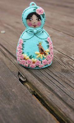 Matryoshka  Hand Embroidered Felt with Pink by TheSnowQueensGarden, $21.50