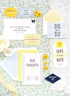 Blue and yellow invitation suite by MaeMae Paperie