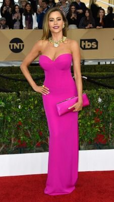 Modern Family's Sofia Vergara in hot pink Vera Wang.