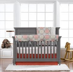 New! Garden Gate Bumperless Crib Bedding by Liz and Roo. Made in USA.