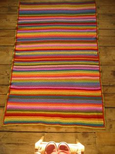 "Beautiful ""Cosy Stripe Blanket"" from Attic24!  Follow the links at the bottom of the page to the photo and written tutorial for the blanket and the edging.  Thank you Lucy!"