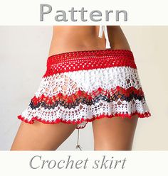 PATTERN Crochet beach skirt PDF lace cover up
