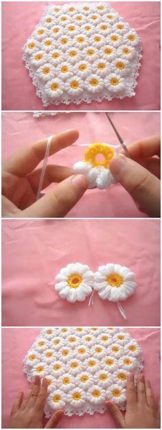 Ideas For Crochet Flowers Blanket Ganchillo Baby Knitting Patterns, Crochet Flower Patterns, Crochet Blanket Patterns, Baby Blanket Crochet, Crochet Flowers, Yarn Flowers, Crochet Diy, Crochet Motif, Crochet Crafts