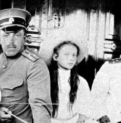 "The Grand Duchess Tatiana Nikolaevna Romanova of Russia with an officer. ""AL"""