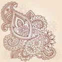 Hand Drawn Abstract Henna Mehndi Abstract Flowe...