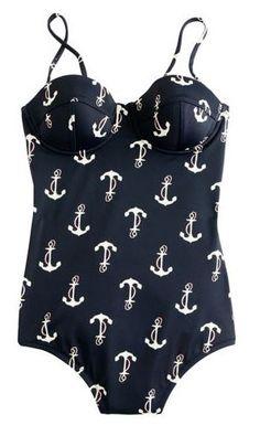 anchor-print swimsuit