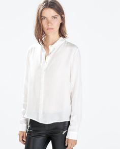 Image 1 of SILK BLOUSEN WITH SHIRT COLLAR from Zara