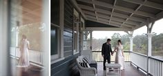 Bride & groom on the balcony of the charming Peppers Convent Hunter Valley