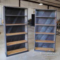 """Pair of our """"Rolling Steel"""" bookcases, each one unique in its own way. Made in the USA #modernindustrialstyle #bookcase #bookshelf #bookshelves #bookcollector #displaycase #bookshelfdecor #modernindustrialfurniture Modern Industrial Furniture, Unique Furniture, Furniture Making, Wine Credenza, Sideboard Cabinet, Industrial Machinery, New Condo, Architectural Elements, Display Case"""