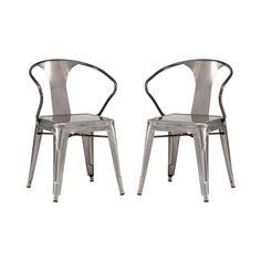 Bistro Arm Chair in Gunmetal - Set of 2 | dotandbo.com