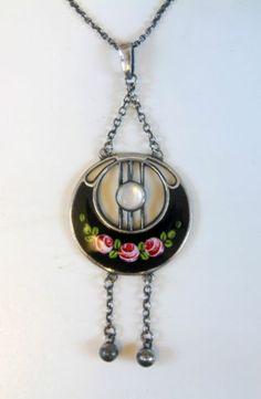 Stylish Art Deco Charles Horner Silver Enamel Pendant Necklace Chester 1918…