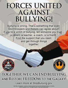 I love this. Great bullying prevention- Star Wars poster