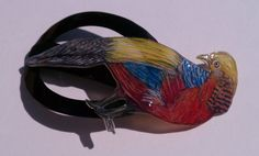 Golden Pheasant Barrette by CherieBerie on Etsy, $65.00 Golden Pheasant, Bird Species, Barrette, Oakley Sunglasses, Colored Pencils, How To Draw Hands, Brown, Pretty, Artwork