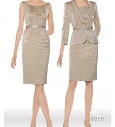 Vestido de madrina modelo 3373   colección 2014 Teresa Ripoll   en ottoman color doré con cintura de pedrería   americana a conjunto