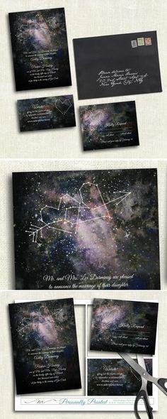 Watercolor Constellation Printable Wedding invitation template