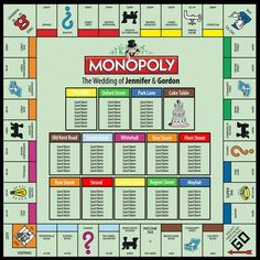 The iconic Monopoly board game - as a wedding tableplan! The seating plans are available in several different sizes: x x x x Board Game Wedding, Wedding Games, Wedding Ideas, Monopoly Board, Monopoly Game, Monopoly Pieces, Seating Plan Wedding, Seating Plans, Wedding Table