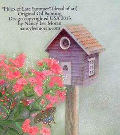 """Detail of """"Phlox of Late Summer,"""" an oil painting by Nancy Lee Moran of a country Victorian garden, where graceful scrolls of a decorative gate support tall phlox. The Victorian-colored (Painted Lady) birdhouse is from Nancy Lee's imagination.  Romantic Realism art copyrighted by Moran USA, 12 x 16 oil on board, $1200 before framing #birdhouse #oilpainting #phlox #artlicensing #Surtex #purple #violet #butterfly"""