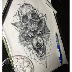Image result for wolf skull tattoo