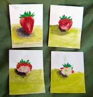 Observational drawing:  Eat Your Fruit  (kids eat their subject matter as they go, then draw it) -sequencing-