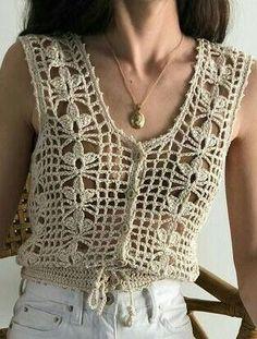 Best 12 Ada – lacy shells top Crochet pattern by Vicky Chan Designs – SkillOfKing. Crochet Bolero, Beau Crochet, Gilet Crochet, Mode Crochet, Crochet Vest Pattern, Crochet Cardigan Pattern, Crochet Girls, Crochet Jacket, Freeform Crochet