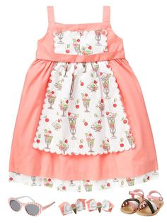 e198b861cc880 Girls salmon pink sleeveless Sundae apron dress and accessorie from Janie  and Jack Ice Cream Social