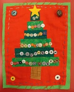"""Fabric Christmas tree craft - Another pinner said: """"I made this a few years ago with my class.  They were beautiful and my class of boys loved sewing!"""""""