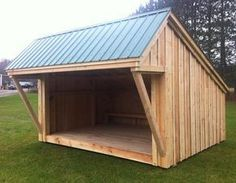 This is quite a good design for a field shelter Lean To - Featuring a spacious deck and generous overhang for plenty of shelter for several people. Lean To Shelter, Firewood Shed, Curved Pergola, Pergola Roof, Barns Sheds, Backyard Sheds, Tool Sheds, Building A Shed, Building Design