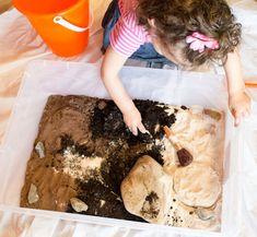 Dinosaur Fossil Sensory Excavation activity for kids.