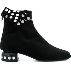 Pierre Hardy Polka Dot Sequin Boots ($488) ❤ liked on Polyvore featuring shoes, boots, black and silver shoes, dot shoes, polka dot shoes, sequin shoes and pierre hardy