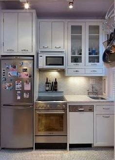 one-wall kitchenette, varied depth with drawers & micro in upper cabinets that clear lights, flat electric stove, micro over stove, undercounter lights, undermount sink s/b 14*18, counter depth fridge.