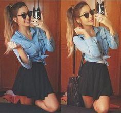 saia sino + blusa jeans