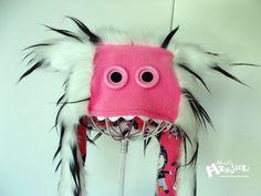 MONSTERFACE PLUSHIE Aviator hat: Spots Pink Zombie Girls White & Black OOAK via Etsy