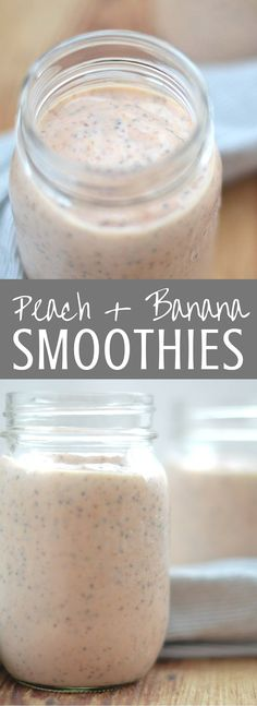 Peach and Banana Chia Smoothies | Packed with greek yogurt and healthy chia and flax seeds, this simple smoothie is a delicious start to the day!