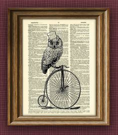 Owl Steampunk Art Print TOP HAT OWL on a Penny Farthing Bicycle bike print over an upcycled vintage dictionary page book art by collageOrama on Etsy https://www.etsy.com/listing/79644681/owl-steampunk-art-print-top-hat-owl-on-a
