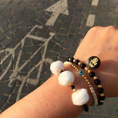 Mono cycle  monochrome pompom trio glass bead bracelet, evil eye bead bracelet & enamel hamsa hand gemstone bracelet ✋ #danalevy jewellery