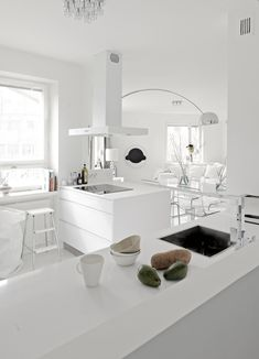 Danish kitchen/dining room-pale wood floors with all the white. *** You can find more details by visiting the image link. Danish Kitchen, New Kitchen, Kitchen Dining, Scandinavian Kitchen, Kitchen White, Kitchen Island, Kitchen Interior, Kitchen Decor, Interior Modern