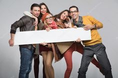 Group Of Friends Want To Advertise Stock Image - Image of copy, banner: 27854829 Smiling People, Happy People, Class Design, Ad Design, Stick Figure Animation, Wallpaper Shelves, Fall Banner, Photo Grouping, Painter Artist