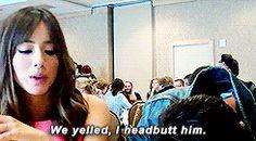We yelled, I headbutt him. || Chloe Bennett, Brett Dalton || SDCC 2014 || 245px × 135px || #animated #cast #quotes