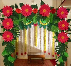 27 Best Trending Ganesh Chaturthi Decoration Ideas for home 2019 Diwali Decorations At Home, Home Wedding Decorations, Flower Decorations, Stage Decorations, Flower Decoration For Ganpati, Ganpati Decoration Design, Colour Paper Flowers, Ganesh Chaturthi Decoration, Janmashtami Decoration